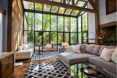 Large living room with unique over-use of windows -Home and Garden Design Ideas