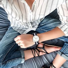 Outfit Inspiration: Forever New strip shirt, One Teaspoon Awesome Baggies and Daniel Wellington watch. Follow @jayde_archives on Instagram.