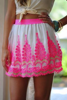 Neon Pink Skirt The Fashion: Gorgeous dress black fur Summer outfits Teen fashion Cute Dress! Clothes Casual Outift for Fashion Moda, Skirt Fashion, Teen Fashion, Love Fashion, Womens Fashion, Pink Fashion, Colorful Fashion, Pink Lace Skirt, Looks Style