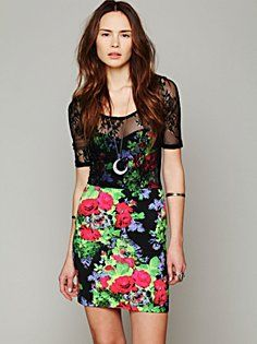Lace Overlay Bodycon in clothes-dresses  #FloralShop #FreePeople