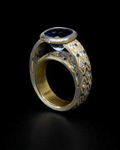 Zoltan David Blue Sapphire set in Platinum and 22K Gold Inlay and Insleeve Ring