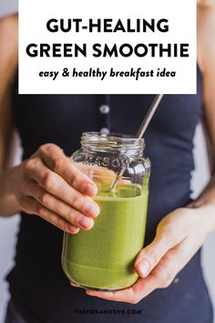 If youre working to restore gut health, make sure youre eating plenty of good foods for gut health. This peanut butter b Healthy Breakfast Smoothies, Health Breakfast, Healthy Smoothies, Healthy Smoothie Ingredients, Easy Green Smoothie Recipes, Vegetable Smoothies, Green Smoothies, Banana Recipes, Healthy Protein