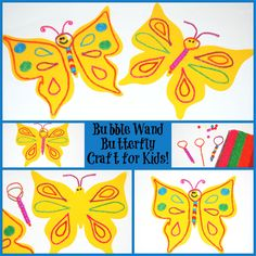 Bubble Wand Butterfly Craft for Kids!