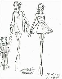 Delphine Manivet Collection for La Redoute Fashion Illustration Sketches, Illustration Mode, Fashion Design Sketches, Silhouette Mode, Delphine Manivet, Fashion Figures, Fitness Gifts, Dress Hats, Poses