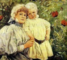 """Jenny Nyström (1854-1946), """"Mother and son Nyström-Stoopendahl"""" 1895"""