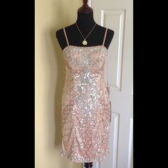 "Sue Wong Pink Sandalwood SILVER Sequins Dress Brand New. Unworn with Tags Attached. Size 8 . Adjustable spaghetti straps. Lightly padded bust. Left side seam zipper with hook and eye closure. Fully lined. Approx. 36"" from shoulder to hem Sue Wong Dresses"