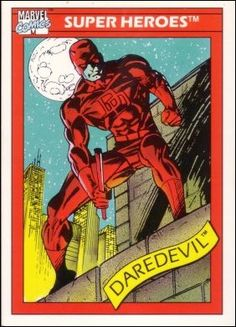 1990 Impel Marvel Universe Series I Card Daredevil Marvel Comic Books, Comic Book Characters, Comic Books Art, Book Art, Marvel Cards, Comic Page, Daredevil, Disney Mickey Mouse, Marvel Heroes