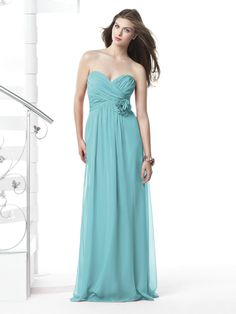 long chiffon bridesmaid dress in spa blue... too sweet! If this was knee length it'd be perfect :)