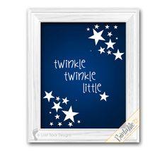 Twinkle Little Star Song theme Baby Boy or Girl Navy Blue & White nursery rhyme bedroom Gender neutral Wall Decor printable digital download