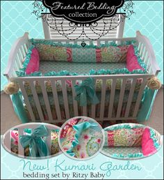 Custom Baby Bedding 3 Or 4 Piece Crib Set Kumari Garden, Baby Girl Bedding…