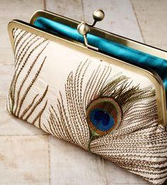 DIY {Inspiration} Silk Peacock Feathers Luxury Clutch Bag...