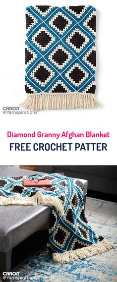 Diamond Granny Afghan Blanket Free Crochet Pattern #crochet #yarn #crafts #style #homedecor #handmade #homemade