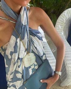"Monica De Tomas on Instagram: ""Summer vibes in @lennyniemeyer & @teresadelapisa necklace 🤍 #blueandwhite #summerlook #wiw #ootd #kaftan #summer #aboutlastweek"" Ootd, Instagram Summer, Classic Elegance, Kaftan, Summer Vibes, Elegant, Beach Fashion, Classy, Caftans"