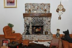 Charmant OOAK Realistic Dollhouse Miniature Rock Fireplace