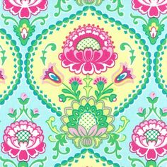 Lily Pad Aqua Floral Fabric By The Yard
