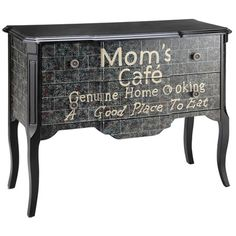 Hand-painted accent chest with cabriole legs and typographic motif.   Product: Accent chestConstruction Material: