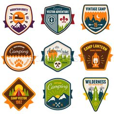 Stock graphics: Vintage summer camp and outdoor  vector badges