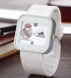 d6e55c329f27 Detalles de reloj mujer hombre zegarek adidas R.Madrid marca correa silicona  blanco negro