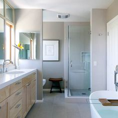 Bathroom Grey White Design Ideas - like the light grey floor tiles and walls.  The wood gives it a nice lift too.