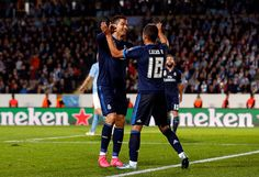 Cristiano Ronaldo and Lucas Vazquez of Real Madrid celebrates after scoring during the UEFA Champions League Group A match between Malmö FF and Real...