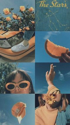 New wall collage artsy Ideas Aesthetic Pastel Wallpaper, Aesthetic Backgrounds, Aesthetic Wallpapers, Tumblr Wallpaper, Wallpaper Backgrounds, Feeds Instagram, Orange Aesthetic, Photocollage, Art Hoe