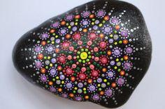 Hand-painted stone, mandala art, dot painting