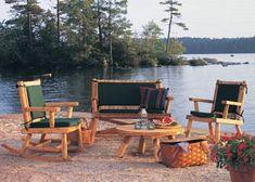 Outdoor Patio Furniture from Walpole Outdoors Rustic Log Furniture, Outdoor Furniture Sets, Walpole Woodworkers, Walpole Outdoors, Northern White Cedar, Cedar Log, Cedar Planks, Outdoor Store, Diy Sofa