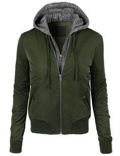 LE3NO Womens Windbreaker Long Sleeve Bomber Jacket with Hoodie