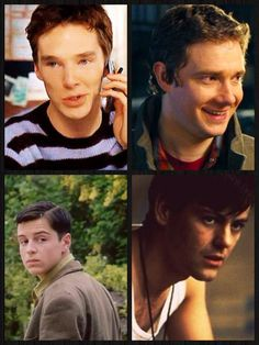 """Young Sherlock cast...look how adorable Moriarty looks! (And Ben too...but he's always adorable) and am I the only one who thinks Greg is looking pretty hot in this pic?? <--- I thought """"Oh hot damn"""" then realized John was up their and thought """"this is my jam..."""""""
