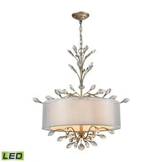 Asbury 4 Light LED Chandelier In Aged Silver 16282/4-LED