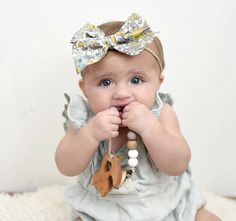 How cute is baby girl? Teething can be so hard on both baby's and moms, make sure to grab a Teether to ease the pain! Baby Girl Bows, Girls Bows, Baby Boy, Baby Shower Gifts, Baby Gifts, Chipmunks, Teething, Girl Style, Hair Bows