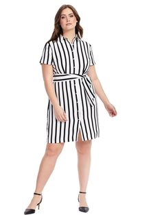 Eloquii | Striped Shirt Dress | Gwynnie Bee