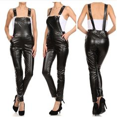 NWOT Faux Leather Overalls NWOT Faux Leather Overalls w side zipper and front pockets available sizes SML. ➡️S 29 inseam 38 long 14 waist ➡️M 30 inseam 38 1/2 long 15 waist ➡️L 31 inseam 40 long 16 waist Pants Jumpsuits & Rompers