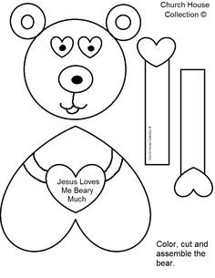 "Church House Collection Blog: ""Jesus Loves Me Beary Much"" Valentine's Day Craft For Kids In Sunday School or Children's Church- Free Printable Template Patterns"