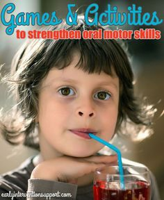 """""""Oral motor exercises may be implemented into your child's therapy program for various reasons, whether it be to increase muscle tone and/or strength, stability, movement, or to increase overall awareness for feeding and/or speech production. Often times these types of activities are recommended to build your child's awareness of his mouth and how his tongue,…"""