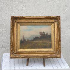 French vintage oil landscape painting, original French art, original French vintage painting, vintage landscape framed vintage landscape art…