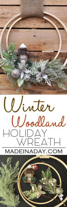 Winter Holiday Woodland Embroidery Hoop Wreath, Learn to make this beautiful silver glitter Large Woodland Wreath, embroidery hoop crafts, snow covered,  via @madeinaday