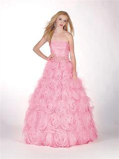 A-line Strapless beaded ruffled organza pink prom dress PD10411 www.dresseshouse.co.uk $128.0000