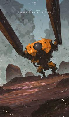 Mountain mech by Andi Koroveshi.More robots here. Fantasy Concept Art, Fantasy Artwork, Illustrations, Illustration Art, Futuristic Art, Wow Art, Environment Concept Art, Environmental Art, Fantasy Landscape