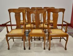 Great set of tiger oak T back chairs with cane seats