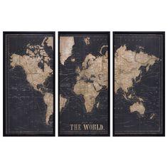 Schwarzer Triptychon-Rahmen Weltkarte 180x120 | Maisons du Monde