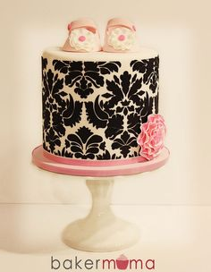 Beautiful Cake Pictures: Black Damask Baby Shower Cake with Pink Baby Shoes - Baby Shower Cakes, Themed Cakes - Beautiful Cake Pictures, Beautiful Cakes, Amazing Cakes, Cheap Baby Shower, Girl Shower, Damask Cake, Damask Stencil, Just Cakes, Fancy Cakes