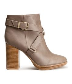 Taupe faux leather ankle boots with block heels and decorative buckled crossover straps. | H&M Shoes