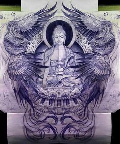 Phoenix wings and Buddha art inspiration tattoo design