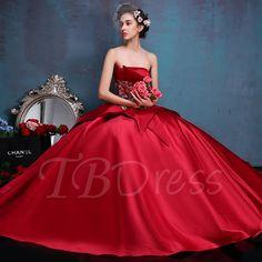 Strapless Lace-Up Appliques Ball Gown Quinceanera Dress - m.tbdress.com