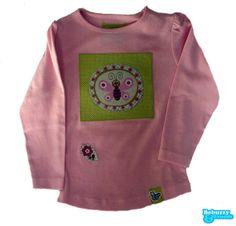 Garden_03 - Cotton's pink long sleeve with fabric applications with a lovely butterfly/Camisola de menina cor-de-rosa com borboleta e flor by BebuzzyandFriends, €15.00