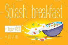 Vector Cereal Bowl by PedroTeixeira on @creativemarket#milk #splash #bowl #cereal #healthy #food #sweet #meal #tasty #drop #breakfast #illustration #health #freshness #nutrition #eating #grain #whole #corn #splashing #light #diet #drink #vector #dairy #liquid #yoghurt #pouring #calcium #vitamin #nutrient #nutritional #morning