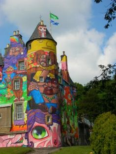 Kelburn Castle:  Fairlie, North Ayshire Scottland  This was done by Brazilian Graffiti artists in 2007 at the request of the children of Lord Glasgow who reside there. Huh. Love it.