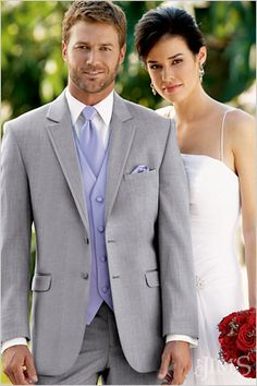 The shade of this suit is ideal, but get rid of the blue tie and vest!