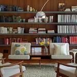 Rethink Design Studio - living rooms - joel snayd, rethink design studio, living room, mid-century design, vintage, retro, danish modern, teak, shelves, floating shelves, art, grey, lamps, sofa, chairs, knoll, arch lamp, organization,